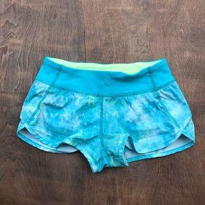 Ivivva Speedy Shorts blue green 10